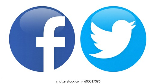 Valencia, Spain - March 13, 2017: Facebook  icon and Twitter icon printed on white paper.
