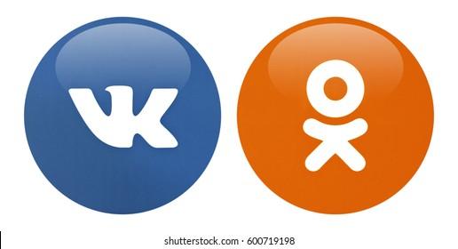 Valencia, Spain - March 13, 2017: Collection of popular social media logos printed on paper:  Vkontakte, Odnoklassniki.