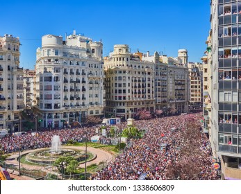 Valencia, Spain, March 13, 2019. Thousands of people packed the town hall and the balconies of the city of Valencia during the fallas festival. Daily celebration of the mascleta of the town hall