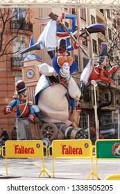 Valencia, Spain - March 14, 2019: Las Fallas Festival with Paper Mache statues made to celebrate St Joseph. One particular statue of many shows Brexit subject which the UK are going through at moment.