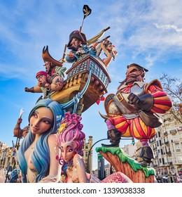 Valencia, Spain, March 14, 2019. Fallas Festival of Valencia. Falla in construction, located in front of the north station