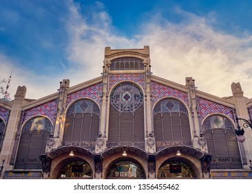 Valencia, Spain, March 14, 2019. Central Market of Valencia, considered a masterpiece of Valencian modernism