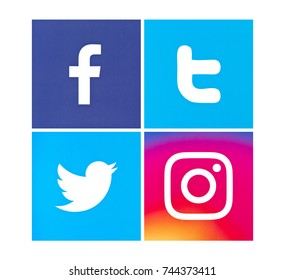 Valencia, Spain - March 15, 2017: Collection of popular social media logos printed on paper: Facebook, Instagram, Twitter.