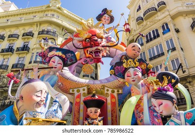 VALENCIA, SPAIN - MARCH 15, 2017:  Colorful giant paper mache sculptures in the Las Fallas Festival in Valencia, Spain on March 15, 2017.