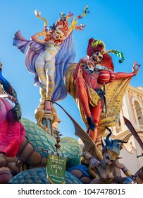 Valencia, Spain, March 15, 2018. National Festival of Fallas. Day on which the faults are mounted. Falla of the square of virgin
