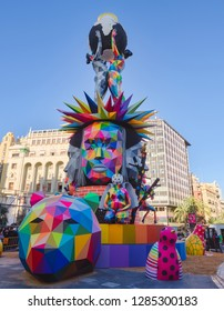 Valencia, Spain, March 15, 2018. Famous Festival of Las Fallas Valencianas. Numerous visitors from around the world come every year. Sculpture Fallera or Falla, of the City council,