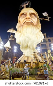"VALENCIA, SPAIN - MARCH 15: People visiting ""Na Jordana"" Falla (""the fires"" in Valencian), one of the biggest parties in Spain with near 400 wooden monuments on march 15, 2012 in Valencia, Spain"