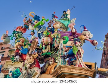 Valencia, Spain, March 17, 2019. Festival of the fallas of Valencia. L'antiga de Campanar, winner of the first special prize as the best falla of 2019. Many people visit these monuments every year.