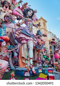 Valencia, Spain, March 17, 2019. Fallas Festival. Falla El Pilar, in the center of the city, winner of the second prize of the special section to better failure 2019