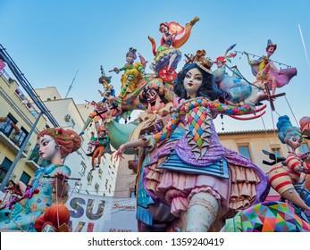 Valencia, Spain, March 17, 2019. Fallas Festival of Valencia. ninot of the fault of the Plaza del Pilar