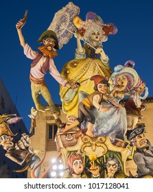 Valencia, Spain, March 19, 2017. Part of one of the sculptures of the fallas of Valencia. The Fallas are one of the most important festivals in Spain and are intangible heritage of Humanity