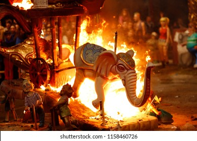 Valencia, Spain - March 19, 2017: Figure of Fallas burning the day of the Crema in the traditional burning of stone dollspaper