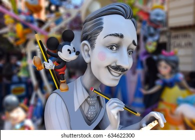 VALENCIA, SPAIN - MARCH 19, 2017:Photo with blurred background of ninot sculpture exhibited in the street on the occasion of the festivals of fallas with sunny day