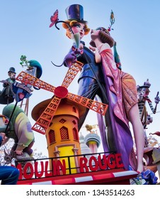 Valencia, Spain, March 19, 2019. Fallas Festival. part of the failure of Na Jordana, entitled, Paris, and winner of the second prize of grace and ingenuity of the special section.