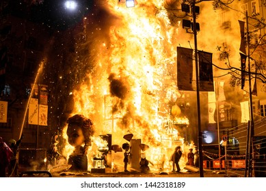 Valencia, Spain - March 19, 2019: End of the Valencian festivities of Fallas, Monument faller consumed in the fire in high flares.