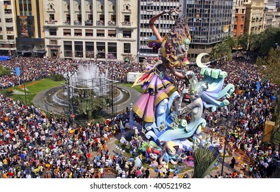 VALENCIA, SPAIN - MARCH 19: Las Fallas, papermache models are displayed during traditional celebration in praise of St Joseph on March 19, 2007, in Valencia, Spain. Celebration happens every year.