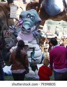 VALENCIA, SPAIN - MARCH 19:  Satirical ninots (puppets) on Fallas on march 19, 2011 in Valencia, Spain. Las Fallas is an internationally known fire celebration in praise of Saint Joseph in Valencia.