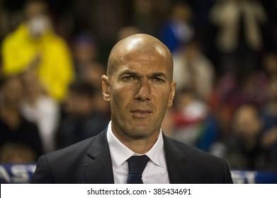 VALENCIA, SPAIN - MARCH 2: Zinedine Zidane during BBVA League match between VLevante U.D. and R. Madrid at Ciudad de Valencia Stadium on March 2, 2015 in Valencia, Spain