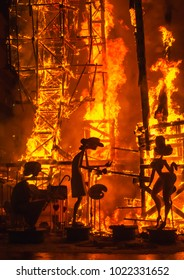 Valencia, Spain, March 20, 2017. Fallas, intangible heritage of humanity. night of the cremá, when all the monuments burn and the festivities end