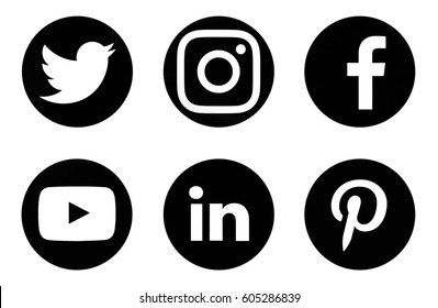 Facebook Instagram Twitter Linkedin Icon Images Stock