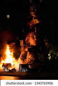 Valencia, Spain, March 20, 2019. Las Fallas de Valencia, night of the cremá, when all the monuments are burned. Falla of the street Count Altea with Maestro Gozalbo, called Ambitions.