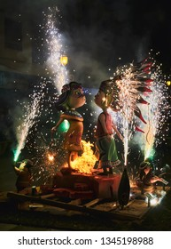 Valencia, Spain, March 20, 2019. Festival of las fallas. Night of the cream. Start of the cream when the masclets or pyrotechnics explode and set fire to the flaw with their figures or ninots, ending