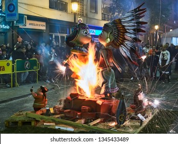 Valencia, Spain, March 20, 2019. Festival de las fallas. Night of the cream. Start of the cream when the masclets or pyrotechnic elements explode and fire the fault with their figures.