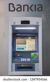 Valencia, Spain; March 24 2019:  ATM of the Bankia bank, one of the most important banks in Spain