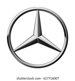 Valencia, Spain - March 27, 2017: Mercedes Benz logo printed on paper and placed on white background. Mercedes Benz is a German brand.