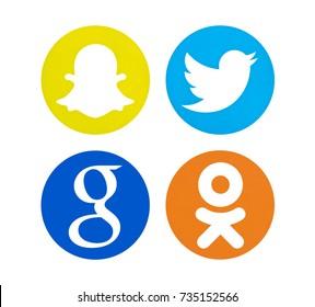 Valencia, Spain - March 30, 2017: Collection of popular social media logos printed on paper: Twitter, Google, Odnoklassniki, Snapchat.