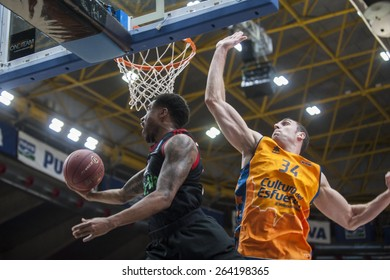 VALENCIA, SPAIN - MARCH 5: Pablo Aguilar during EURO CUP match between Valencia Basket Club and Bayern Munich at Fonteta Stadium on March 5, 2015 in Valencia, Spain
