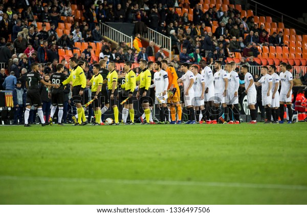 VALENCIA, SPAIN - MARCH 7: All players during UEFA Europa League match between Valencia CF and FC Krasnodar at Mestalla Stadium on March 7, 2019 in Valencia, Spain