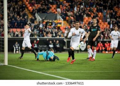 VALENCIA, SPAIN - MARCH 7: (C) Rodrigo scores a goal during UEFA Europa League match between Valencia CF and FC Krasnodar at Mestalla Stadium on March 7, 2019 in Valencia, Spain