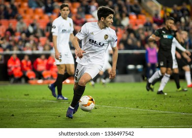 VALENCIA, SPAIN - MARCH 7: Carlos Soler during UEFA Europa League match between Valencia CF and FC Krasnodar at Mestalla Stadium on March 7, 2019 in Valencia, Spain