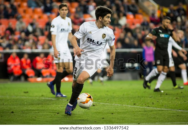 VALENCIA, SPAIN - MARCH 7: Carlos Soler during UEFA Europa League match between Valencia CF and FC Krasnodar at Mestalla Stadium on March 7, 2019 in Valencia, Spain