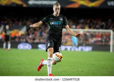 VALENCIA, SPAIN - MARCH 7: Claesson during UEFA Europa League match between Valencia CF and FC Krasnodar at Mestalla Stadium on March 7, 2019 in Valencia, Spain