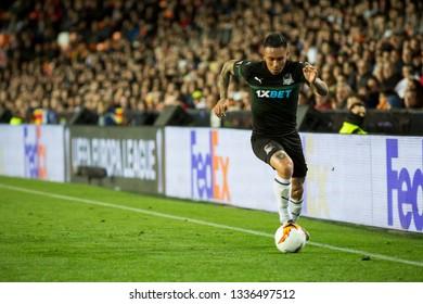 VALENCIA, SPAIN - MARCH 7: Cristian Ramirez during UEFA Europa League match between Valencia CF and FC Krasnodar at Mestalla Stadium on March 7, 2019 in Valencia, Spain