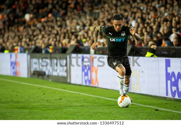 VALENCIA, SPAIN - MARCH 7: Cristian Ramirez during UEFA Europa League match between Valencia CF and FC Krasnodar at Mestalla Stadium on March 7, 2019 in Valencia, Spain