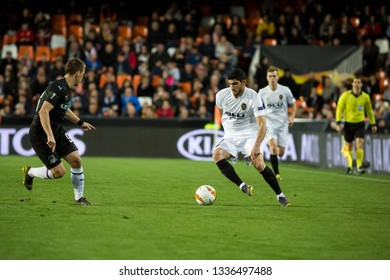 VALENCIA, SPAIN - MARCH 7: Guedes with ball during UEFA Europa League match between Valencia CF and FC Krasnodar at Mestalla Stadium on March 7, 2019 in Valencia, Spain