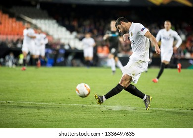 VALENCIA, SPAIN - MARCH 7: Guedes during UEFA Europa League match between Valencia CF and FC Krasnodar at Mestalla Stadium on March 7, 2019 in Valencia, Spain