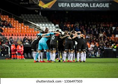 VALENCIA, SPAIN - MARCH 7: Krasnodar players during UEFA Europa League match between Valencia CF and FC Krasnodar at Mestalla Stadium on March 7, 2019 in Valencia, Spain
