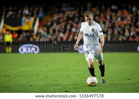 VALENCIA, SPAIN - MARCH 7: Lato during UEFA Europa League match between Valencia CF and FC Krasnodar at Mestalla Stadium on March 7, 2019 in Valencia, Spain