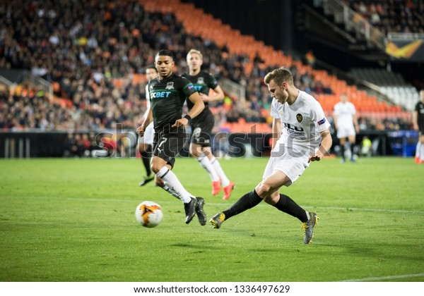 VALENCIA, SPAIN - MARCH 7: Lato with ball during UEFA Europa League match between Valencia CF and FC Krasnodar at Mestalla Stadium on March 7, 2019 in Valencia, Spain