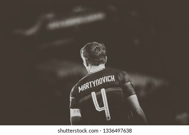VALENCIA, SPAIN - MARCH 7: Martynovich during UEFA Europa League match between Valencia CF and FC Krasnodar at Mestalla Stadium on March 7, 2019 in Valencia, Spain