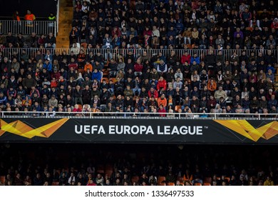 VALENCIA, SPAIN - MARCH 7: People in the stadium during UEFA Europa League match between Valencia CF and FC Krasnodar at Mestalla Stadium on March 7, 2019 in Valencia, Spain