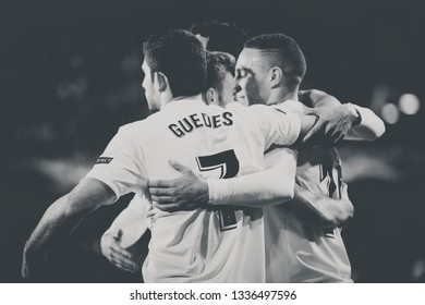 VALENCIA, SPAIN - MARCH 7: Valencia players celebrate a goal during UEFA Europa League match between Valencia CF and FC Krasnodar at Mestalla Stadium on March 7, 2019 in Valencia, Spain