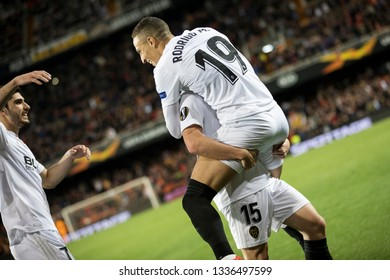 VALENCIA, SPAIN - MARCH 7: Valencia players celebrate a goal during UEFA Europa League match between Valencia CF and FC Krasnodar at Mestalla Stadium on March 7, 2019 in Valencia, Spain