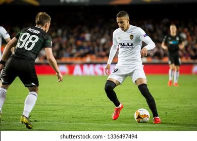 VALENCIA, SPAIN - MARCH 7: Rodrigo with ball during UEFA Europa League match between Valencia CF and FC Krasnodar at Mestalla Stadium on March 7, 2019 in Valencia, Spain