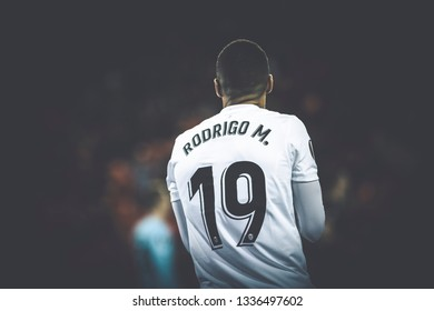 VALENCIA, SPAIN - MARCH 7: Rodrigo during UEFA Europa League match between Valencia CF and FC Krasnodar at Mestalla Stadium on March 7, 2019 in Valencia, Spain