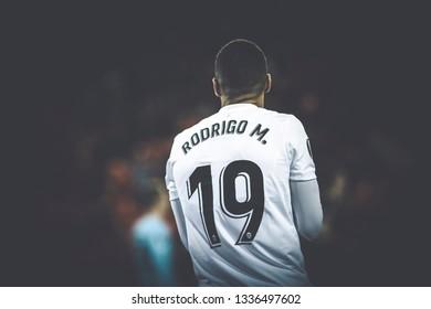VALENCIA, SPAIN - MARCH 7: Rodrigo during UEFA Europa League match between Valencia CF and FC Krasnodar at Mestalla Stadium on March 7, 2019 in Valencia, Spain